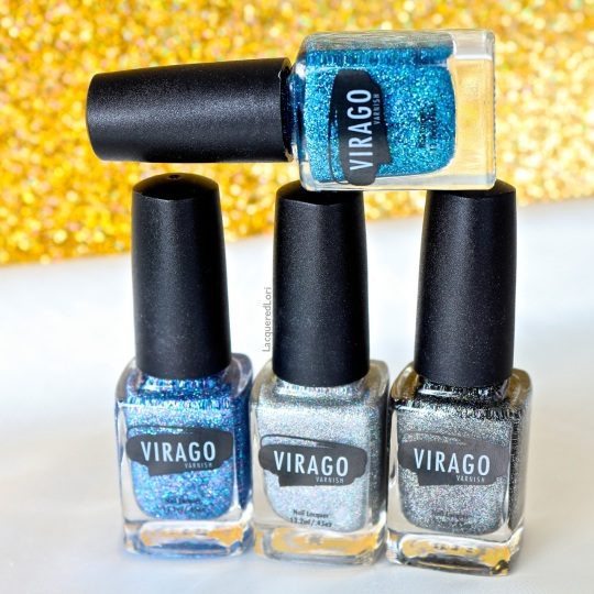 4 fab glitter polishes. On top is Radiance and from L-R: Stellar, Allure and Glamorous.