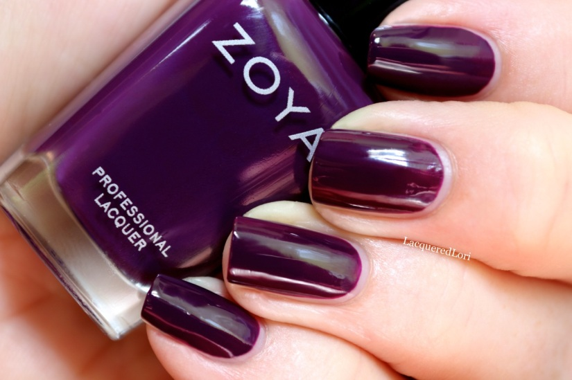 """""""Lidia by can be best described as a rich eggplant cream that has a blackened purple base and just a hint of red to make it more wearable for all skin tones."""" 2 coats, almost like a crelly application!"""