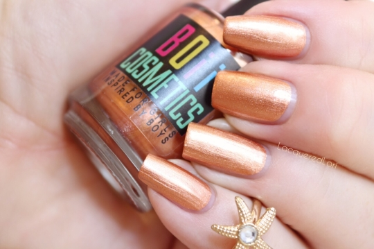 Belizean Girl is a one-coater super opaque metallic copper penny shade with tons of shine and perfect formula.