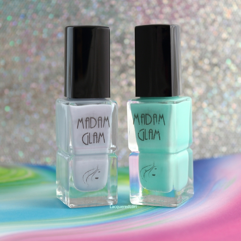 """Pastel Sky is described as, """"Azure Blue"""". This pale blue creme is super pigmented, dries fast and smooth in 1-2 coats. Caribbean Island (be still my heart, SO in love with this one!)...It's described as a bright mint. This mega opaque creme is fully opaque in 1-2 coats. It really reminds me of the shallow shoreline of a Caribbean island!"""