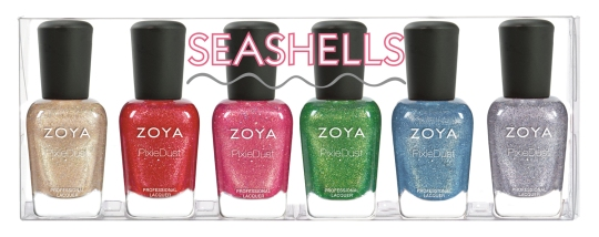 The Summer 2016 Seashells Full Collection Set by Zoya contains 1 of the following full-sized (0.5oz) bottles: · Levi - ZP841: Beige gold textured PixieDust with medium holographic hexes. Designed to update a classic neutral pixie with a little more glam. · Linds - ZP842: Cherry red textured PixieDust with red and fuchsia glitter to mimic the look of maraschino cherries dipped in sugar. · Zooey - ZP843: Classic pink textured PixieDust laced with a fine thread of gold and medium-sized holographic hexes for an added layer of dimension. · Cece - ZP844: Full impact green, textured PixieDust with a thin vein of gold creating a fizzy lemon-lime effect. · Bay - ZP845: Sky blue textured PixieDust with fine silver and gold glitter creating a dreamy effect. Reminiscent of cloud gazing on warm summer days! · Tilly - ZP846: Starry grey textured PixieDust with a small holographic glitter interwoven with a darker gunmetal. Perfect for hot nights out on the town!