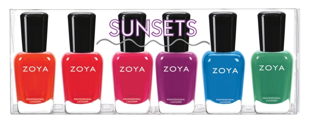 SUNSETS: NEW Captured from the sky...  Six stunning Zoya Nail Polish* one-coat creams. · Cam - ZP847: Deep, fully saturated orange with a densely saturated, buttery smooth application. Rich and juicy like a ripe tangerine! · Dixie - ZP848: Juicy watermelon red with a densely saturated, buttery smooth application. A cool treat for hot summer days! · Brynn - ZP849: Popsicle pink with a densely saturated, buttery smooth application. The epitome of happy carefree color! · Liv - ZP850: Fun-filled purple that is seriously saturated and makes a statement! Great on any skin tone, with or without a tan. · Dory - ZP851: Vibrant cornflower blue with a densely saturated, buttery smooth application. Get ready to rock the waves! · Ness - ZP852: Softened jade green with a hint of blue to make it wearable for all skin tones. Reminiscent of sea glass found on your favorite beaches!