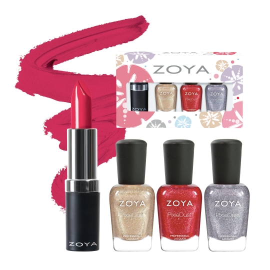 The Seashells Summer Quad by ZOYA is the perfect for Summer gift giving. This set includes one of each of the following: 1 - Zoya Lipstick in Mellie 1 - Mini (0.25oz) Levi 1 - Mini (0.25oz) Linds 1 - Mini (0.25oz) Tilly