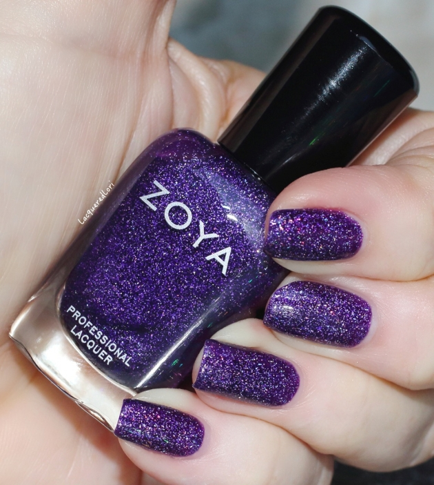 Finley, 2 coats. I'm SO glad Zoya continues their fabulous scattered holos! It is described as a deep royal purple scattered holo. Smooth application with an elegant 2 coat coverage.