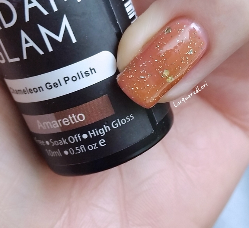 "Redemption! lol Just one coat of the previously mentioned One Coat gel polish, Tiara, over a coat of one of Madam Glam's Chameleons called Amaretto, shown here in ""chill"" mode is pretty darn cool! Cooled Amaretto takes on a rosy hue while warm it leans a latte shade. Great combo!"