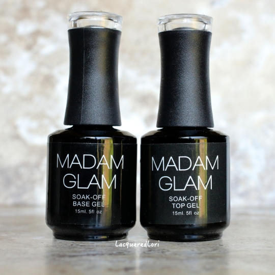 "Here is Madam Glam Soak-Off Base and Soak-Off Top gels. Both go on smooth and this top coat is to be wiped off after curing with a lint free material. I will say that for being a ""sticky"" top coat, it's not super sticky. I like that!"