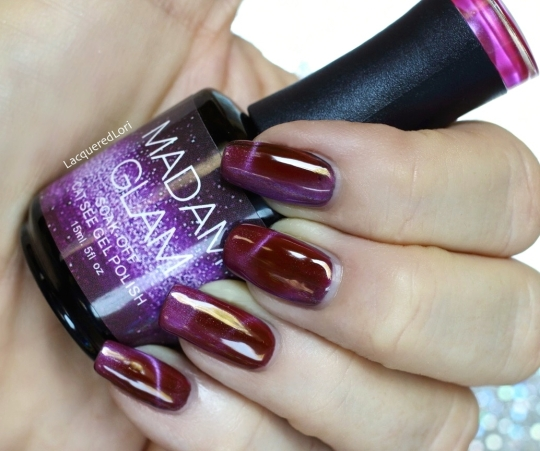 "Madam Glam Soak-off Cat's Eye Gel polish is considered a ""Boysenberry. Dreamy midnight shade for an exquisite lady! Try out the cat eye effect!' The cat's eye force is strong in this one! It goes on fairly shimmery purple but then takes on a more deep, berry shade. The purple shimmer then transforms into 3D shimmer lines after working it with a magnet before curing. Amazing!"