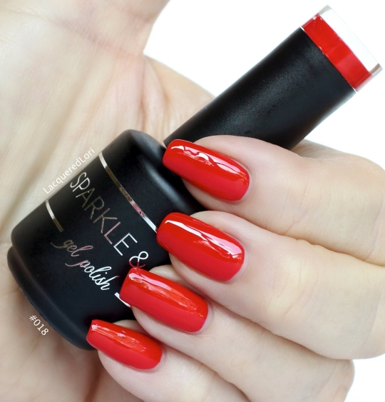#018 is a Bright Red gel polish by Sparkle & Co from OceansofBeauty.com and available now along with all 35 shades! Only 2 coats to full opacity for this creme. It's perfect for the Holidays, patriotic ones included and beyond. This is a little red dress perfect red!