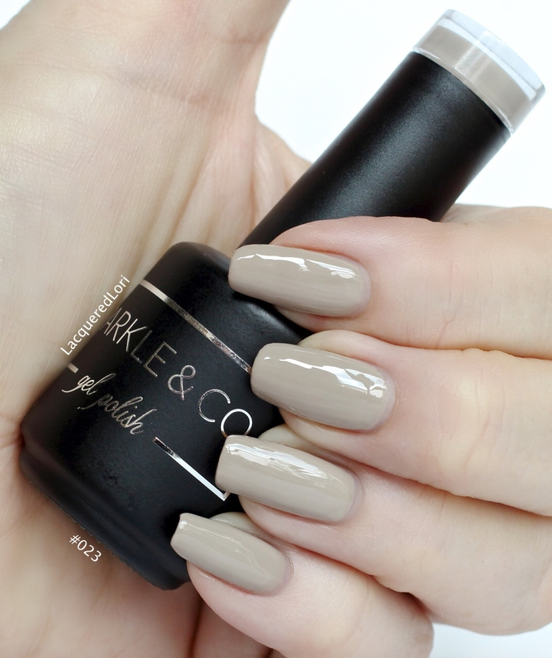 #023 Grey Taupe is a very creamy creme gel by Sparkle & Co, and you can order it now along with all 35 colors from OceansofBeatuy.com! Here she is in 2 coats. What an exquisite neutral!