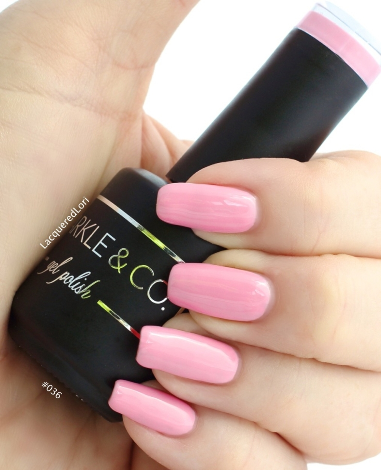 #036 gel polish in 2 coats, from Sparkle & Co gel polish line at OceansofBeauty.com. A peppy bubblegum pink even Barbie would be proud to wear!