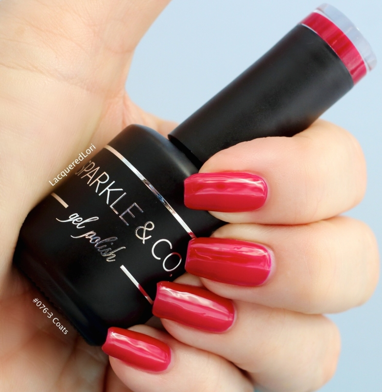 Here is a gorgeous red gel polish, #076 by Sparkle & Co. It's a very jelly like finish and ripe for either a Gelly sandwich, or fully opaque in 3 coats as seen here. This is the shade I used under the Matte Top Coat by Sparkle & Co in this post!