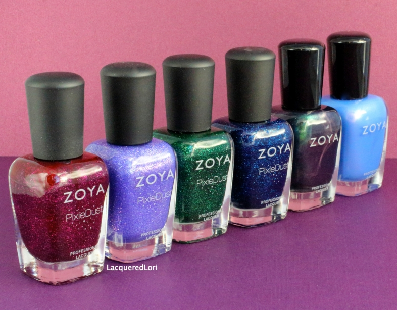 Zoya Enchanted collection for Holiday 2016 brings us four new PixieDust and two color-flip metallics. From Left: Lorna, Alice, Elphie, Waverly, Olivera and Saint. The entire set sells for $60 or $10 each bottle, available for order now.