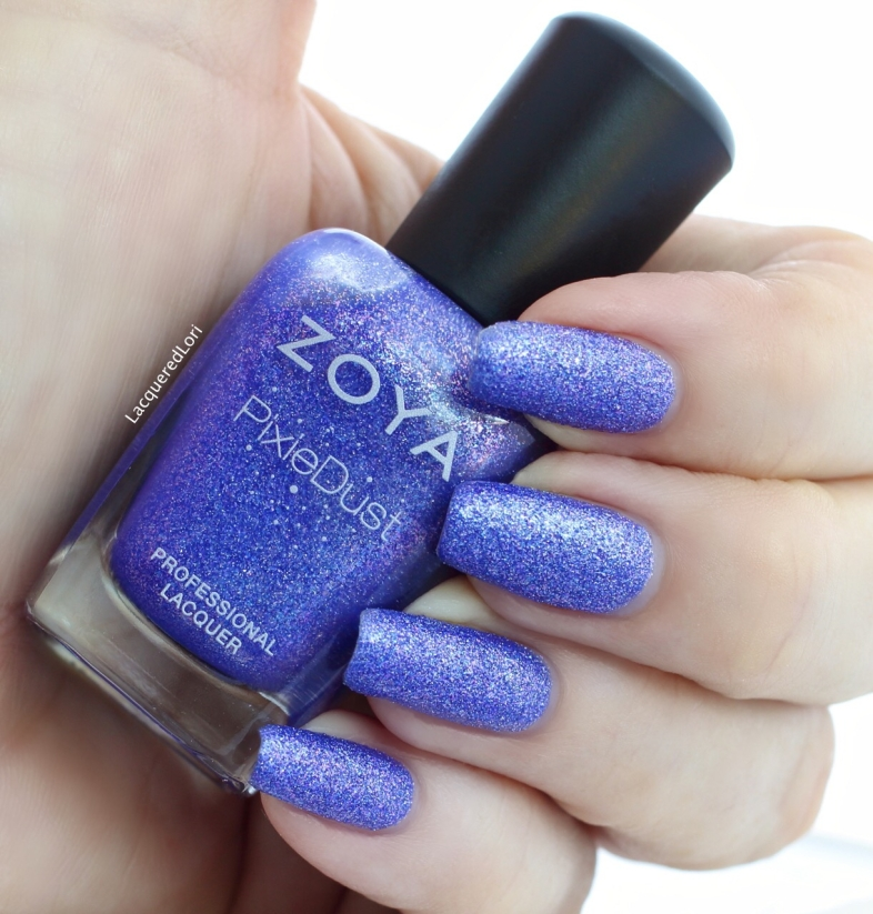 2 coats of Alice Pixie Dust. Alice by Zoya can best be described as a captivating periwinkle with magenta and blue sparkles in the exclusive Zoya PixieDust Matte Sparkle formula.