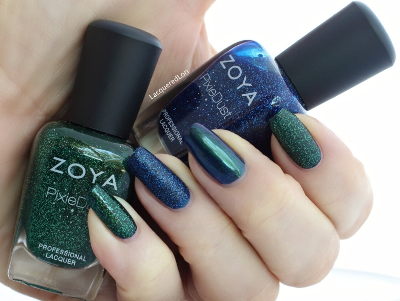 I love that the polishes in this collection play so well with each other. The green Pixie Dust is Elphie in 2 coats. The blue Pixie is Waverly in 2 coats. And on the middle finger is Olivera in 1 coat!