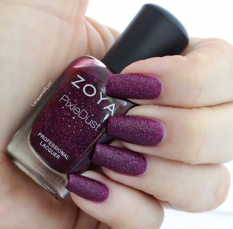 Lorna by Zoya can be best described as a luscious berry with a sugary sparkle in the exclusive Zoya PixieDust Matte Sparkle formula.