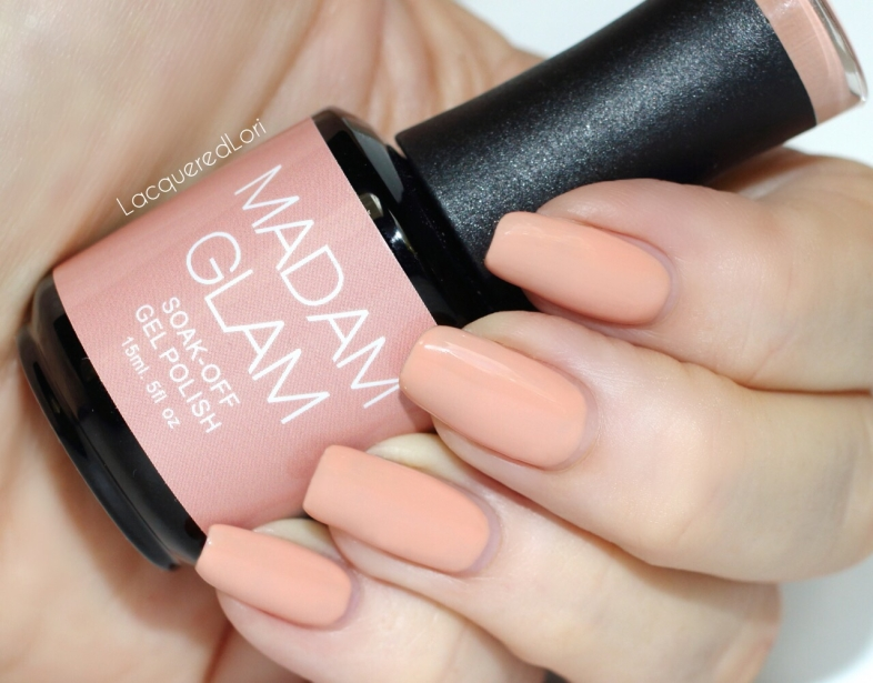 "Madam Glam Gel Polish, Over and Over, is a 2-coat blushing nude. It's described as, ""Latte...A nude shade that you will feel like wearing over and over again!"""