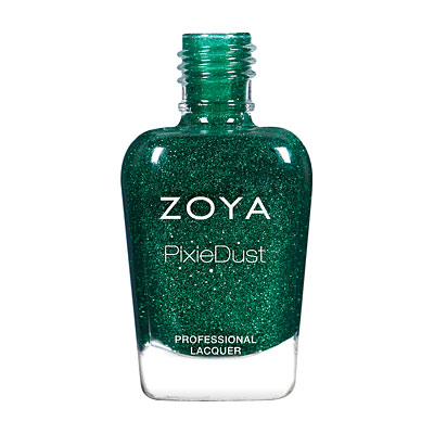ELPHIE (ZP871) green pixie: A bewitching emerald green with a sugary green sparkle in the exclusive Zoya PixieDust Matte Sparkle formula.