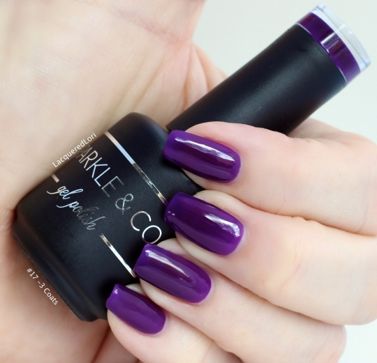And a cool royal Dark purple gel polish is #017 by Sparkle & Co at OceansofBeauty.com. 3 coats cured with base and top coats, also available at OceansofBeauty.com.