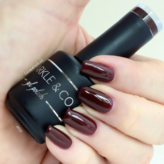 #032/Brown/Maroon gel polish by Sparkle & Co at OceansofBeauty.com is an extremely popular shade with shoppers there! It's so perfect for Fall/Winter months and I love the deep raisin maroon shade. 2 Coats cured with base and top coats cured.
