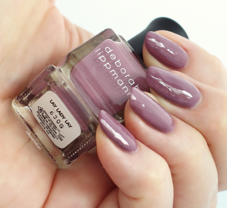 Lay Lady Lay, another super pigmented 1-coater, is a deeper mauve nude.